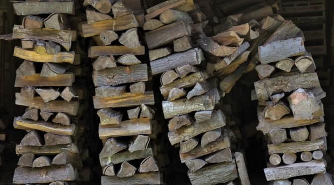 tas de bois tombant