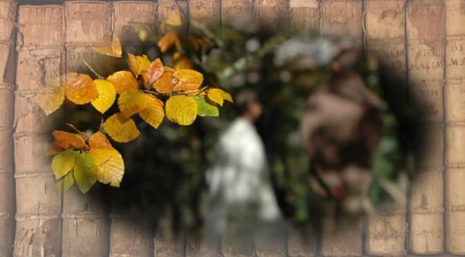 feuilles d'automne avec en arrière-plan un peu fou un ange visitant Joseph